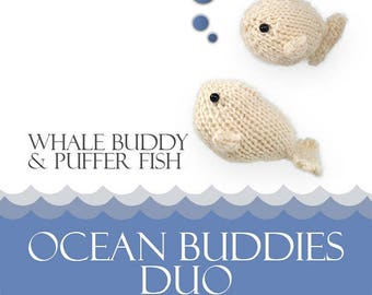 Knit Amigurumi Pattern - Whale and Puffer Fish - Amigurumi Pattern - from Ocean Buddies Collection