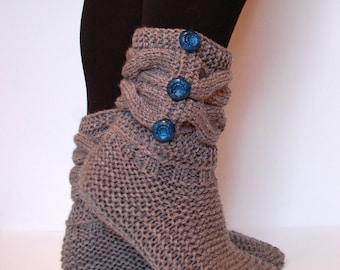 Slipper Boots - Knitted Slippers - Knitted Socks - Wool Slippers - Knitted Booties - Wool Socks - Knitted House Shoes - Cable Knit - Gift
