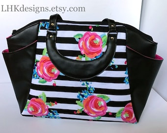 Annette purse handbag work bag travel size with striped floral and faux leather