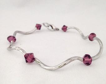 February birthstone bracelet, amethyst birthstone bracelet, february bracelet, amethyst bracelet, Swarovski crystal bracelet