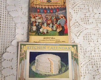 Art Deco 1928 BAKER'S COCONUT Calendar & 1949 De LAVAL Milk Separator Year Book Almanac, Dessert Recipes Moons Weather Pasture Cow Care Home