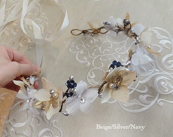 beige and navy flower crown, navy flower crown, gold and navy wedding, beige headpiece, gold and silver flower crown, crystal headpiece