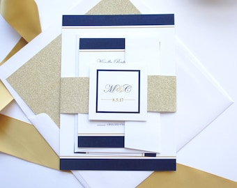 Navy and Gold Wedding Invitation - Glitter Wedding Invitation, Glitter Belly Band, Glitter Envelope Liners, Wedding Invites - SAMPLE SET