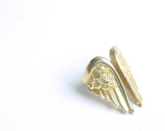 Golden Winged Ring Raw Brass Stamping of Feathered Wings Adjustable