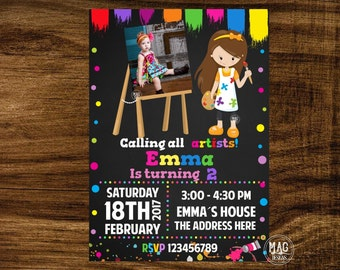 Painting Party Invitation -  Art Party Invitation -  Art Birthday Party Invitation - Art Invitation - Painting Party.