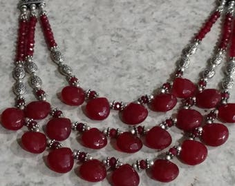 Three Strand Blood Red Quartz Necklace