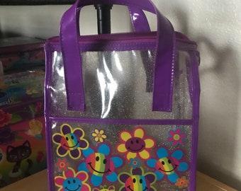 Vintage Lisa Frank Smiley Flowers Glitter Clear Hand Bag