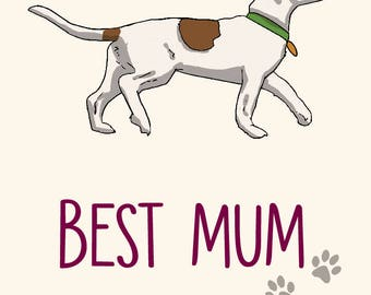 Jack Russell Mother's Day Card - Best Mum Ever! -greetings card