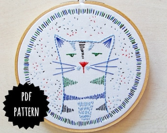 NIGEL NINE-LIVES pdf embroidery pattern, hand embroidery, cat design, grumpy cat, gifts for cat lovers, crazy cat lady, kitty cat pattern
