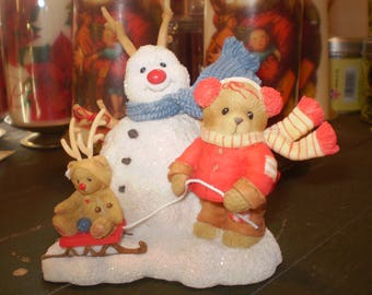 Christmas Cherished Teddies and Snowman Ceramic Decoration and Ornament