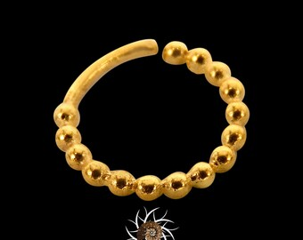 Anuj Gold Septum Ring - Septum Jewelry - Septum Piercing - 18G Septum Ring - 16G Septum Ring - Indian Septum Ring - Tribal Septum Ring (G13)