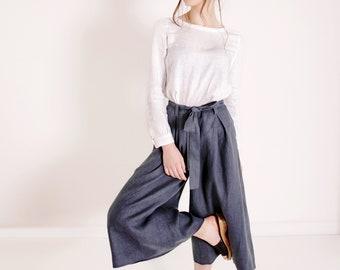 Linen Culotte pants, Linen Pants for Woman, Linen Skirt pants,  Wide Leg Pants, Wide Linen Pants, Culottes for Women