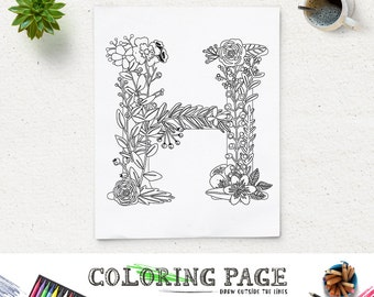 Printable Coloring Page Floral Alphabet Letter H Instant Download Digital Art Printable Art Zen Coloring Pages Adult Anti Stress Art Therapy