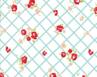 The Good Life Aqua on Cream Everyday, 55153-12 by Bonnie & Camille of Moda Fabric, Sold by the Half Yard