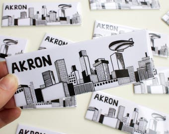 Akron Ohio, Akron, Rubber City, Akron Skyline, Blimp, Fridge Magnet, Gifts under 5, Good Year, 1.5x4.5 Refrigerator Magnet