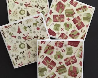 Christmas Coasters ~ Ceramic Tile Coasters ~ Christmas Decor ~ Drink Coasters ~ Holiday Coasters ~ Holiday Decor ~ Retro Christmas Coasters