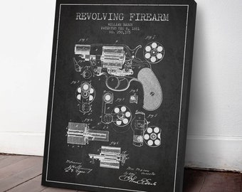 1881 Revolving Firearm Patent Canvas Print, Revolver Print, Gun Decor, Patent Art, Wall Art, Home Decor, Gift Idea, WE05C