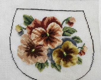 Vintage Pansies Needlepoint Canvas Purse Craft Knitting Wool Bag FRONT, BACK, GUSSET - UNfinished