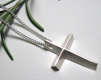 Mens Cross Necklace, Large Silver Cross Pendant with Chain, Epicenter Cross for Guys, from our Spiritus Christian Jewelry Collection