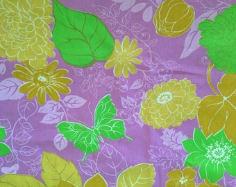 60s Vintage Butterfly Flower Fabric Purple Lime Green Novelty Cotton Mid Century Floral BTY CBF
