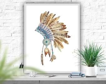 Headress Art Print, Indian Wall Decor, Native American Poster, Iindian Headress, Tribal Decor, Instant Download, Wall Print 8x10
