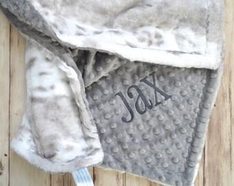 Minky Lovey Mini Baby Blanket - 14 inch Woobie, Gray White snow leopard Faux fur, Personalized Monogrammed, security blanket, gender neutral
