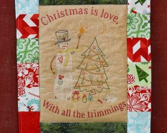 Christmas is LOVE embroidery pattern PDF - quilt design snowman tree primitive folk art