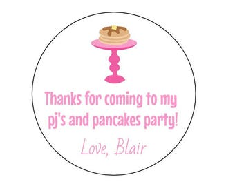 12 Pj's and Pancakes Stickers, Slumber Party, Girls Birthday, Birthday Stickers, Pancake Stickers, Pj Party, Pancake Labels, Favors,