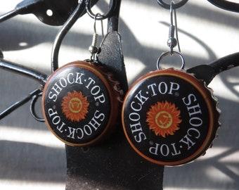 Bottle Cap Earrings- Shocktop Orange
