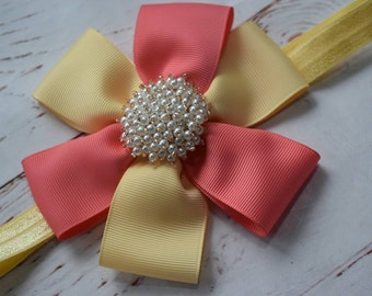 Coral and pale Yellow Rosette with pearly rhinestone- Baby / Toddler / Girls / Kids Elastic  Hairband / Headband / Hair Flower / Hair clip