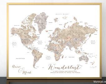 Custom world map etsy personalized world map print couples personalized gift watercolor world map neutrals custom gumiabroncs Images