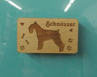 Original Design Standard Schnauzer Wood Magnet