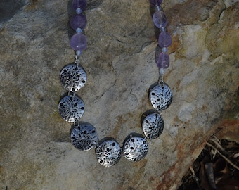 Amethyst beaded necklace and earring set