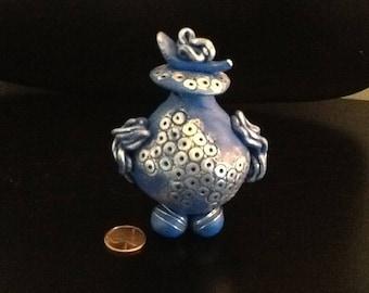 Blue Dreams, original design polymer clay vessel