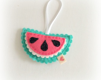 Cute watermelon slice Decoration - glitter seeds - pink and green with black