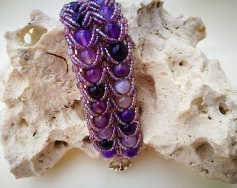 Amethyst, Ametrine, Gemstone, Round Gemstone, Purple, beaded bracelet, Silver, lined, Japanese, seed beads, Silver plated, toggle clasp