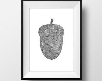SUPER SALE*** Acorn  Line and Circle Illustration Print - Ink- Drawing - Art - 6x4