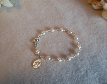 Pearl /Heart Rosary Bracelet
