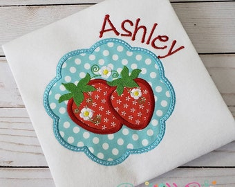 Strawberry Scalloped Shirt, Strawberry Picking Shirt, Girl Summer Shirt