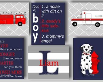 Fire Truck Nursery, Fire Engine, Fireman Art, Fire Truck, Baby Boy Nursery Art, Ambulance, You Are Braver, Dalmatian, Ambulance -  TREM01