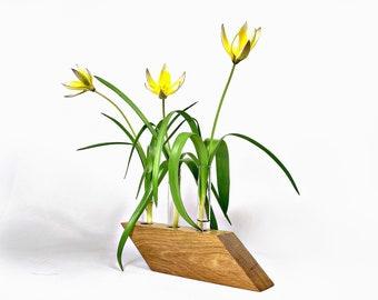 Test tube vase natural oak stand flower bud vase home decor rhombus base