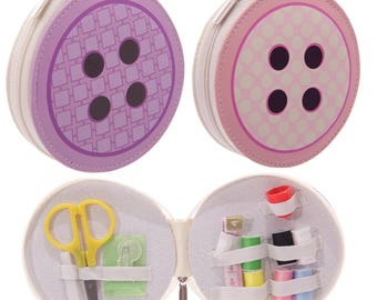 Sewing kit in handy case in style of a button 2 colours.