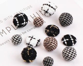 5pcs Ball Charm Woven Fabric Ball Charm Houndstooth Round Dangle Plaid Fabric Ball Tweed Cabochon Black White Classic Charms DIY Jewelry