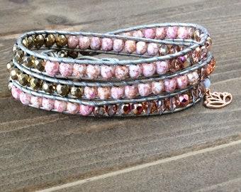 Rose Gold Wrap Bracelet~Swarovski Crystals Bracelet~Rose Gold Bracelet~Lotus Charm~Yoga Jewelry~3 Wrap Bracelet