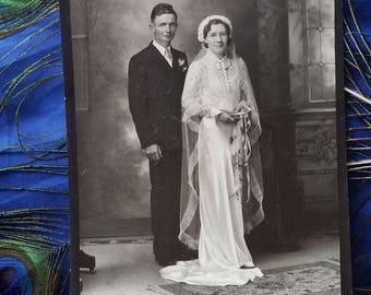 "Vintage Wedding Photo Sepia Tone 5""x7""  no bouquet  ribbon hand tying?"