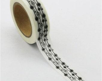 Washi Tape, Black & White, Pattern H, 15mm x 10m