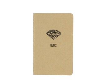 Gems Pocket Notebook / Letterpress Printed Moleskine / Letterpress Printed Notebook/ Idea Notebook/ Gridded Pocket Notebook / Letterpressed