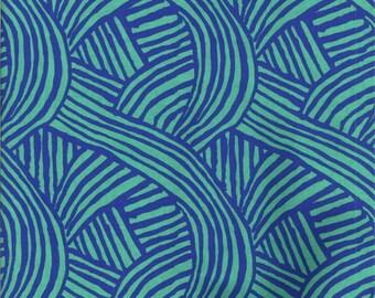 FREE SPIRIT CRAFTSMAN-raked blue and turquoise fabric