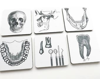 Dentist Dental Hygienist Drink Coasters gift set teeth jaw orthodontist graduation party favors stocking stuffers male masculine black white