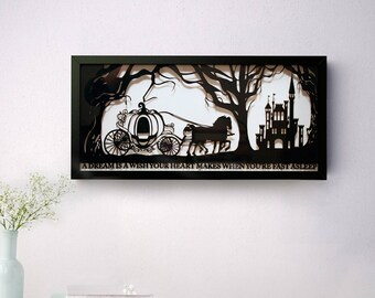Cinderella's Dream Hand Cut Papercut • Cinderella • Fairytale Wall Art • Paper Cut Quote • Fairy Tale Gift